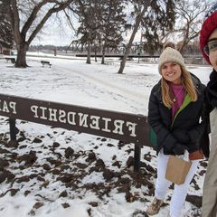 Photo by JCU.: 澳彩网 on November 13, 2020. Image may contain: 2 people, snow, tree, hat, outdoor and nature, text that says 'TABD FRIENDSHIP DSHIP PARK'.